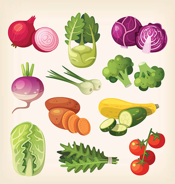 set of colorful vegetables - cherry tomato stock illustrations