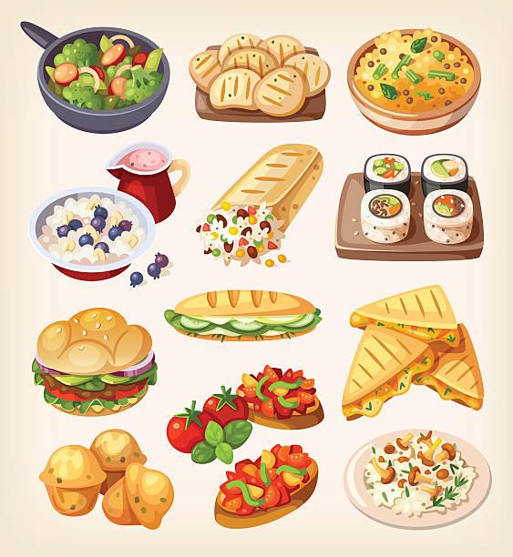 illustrations, cliparts, dessins animés et icônes de ensemble de coloré de plats végétariens. - risotto