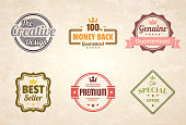 Set of 6 Vintage multicolored badges and labels (Red, orange, yellow, green, gray, pink), isolated on a brown retro background with an effect of old textured paper (The Creative Design, Money Back - 100% Guaranteed, Genuine - Guaranteed, Best Seller, Premium - Guaranteed Quality, The Special Offer). Elements for your design, with space for your text. Vector Illustration (EPS10, well layered and grouped). Easy to edit, manipulate, resize or colorize.