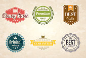 Set of 6 Vintage multicolored badges and labels (Red, orange, yellow, green, blue, gray), isolated on a brown retro background with an effect of old textured paper (100% Money Back, Premium - Guaranteed Quality, Best Seller, Original Product, Guaranteed - Premium Quality - Special Offer, Best Design). Elements for your design, with space for your text. Vector Illustration (EPS10, well layered and grouped). Easy to edit, manipulate, resize or colorize.