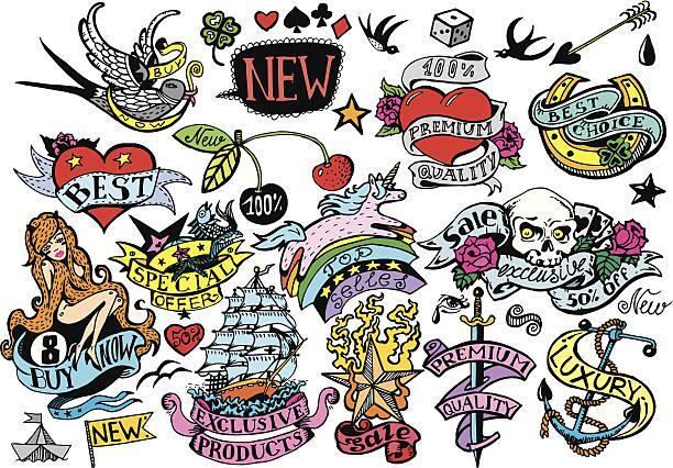 ilustraciones, imágenes clip art, dibujos animados e iconos de stock de colorido conjunto de marcos y elementos de diseño vintage - tatuajes de corazones