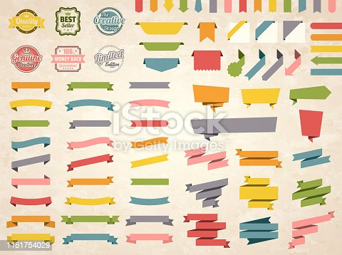 Set of Vintage multicolored ribbons, banners, badges and labels (Red, orange, yellow, green, blue, gray, pink), isolated on a brown retro background with an effect of old textured paper. Elements for your design, with space for your text. Vector Illustration (EPS10, well layered and grouped). Easy to edit, manipulate, resize or colorize.