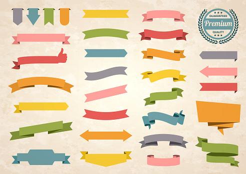 Set of Colorful Vintage Ribbons, Banners, badges, Labels - Design Elements on retro background