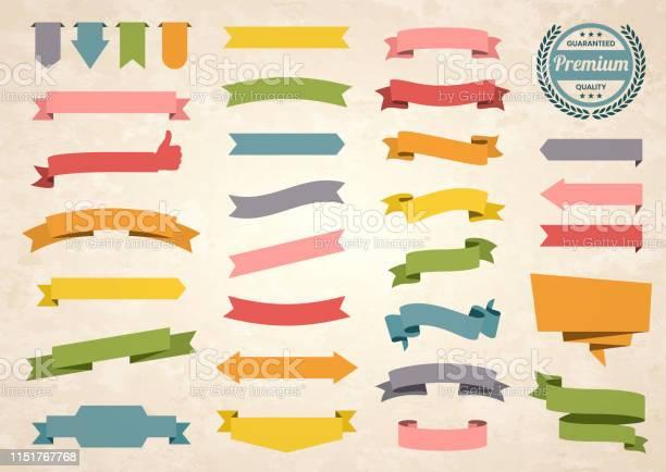 Set Of Colorful Vintage Ribbons Banners Badges Labels Design Elements On Retro Background Stock Illustration - Download Image Now