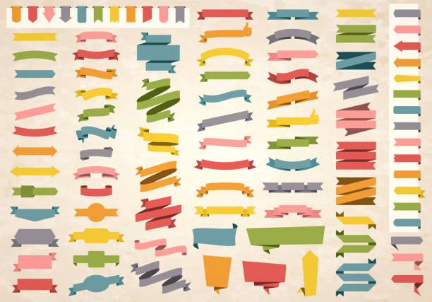 Set of Colorful Vintage Ribbons, Banners, badges, Labels - Design Elements on retro background vector art illustration