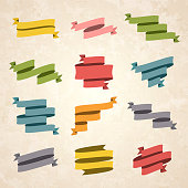 Set of Vintage multicolored ribbons and banners (Red, orange, yellow, green, blue, gray, pink), isolated on a brown retro background with an effect of old textured paper. Elements for your design, with space for your text. Vector Illustration (EPS10, well layered and grouped). Easy to edit, manipulate, resize or colorize.
