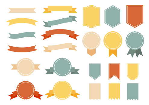 set of colorful vintage ribbons with badges. banners and price tag isolated on white background. vector illustration.