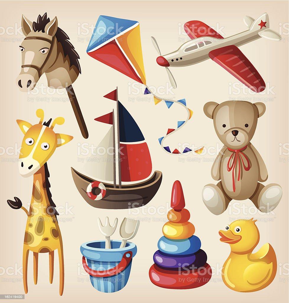 Set of colorful vintage toys for kids. vector art illustration