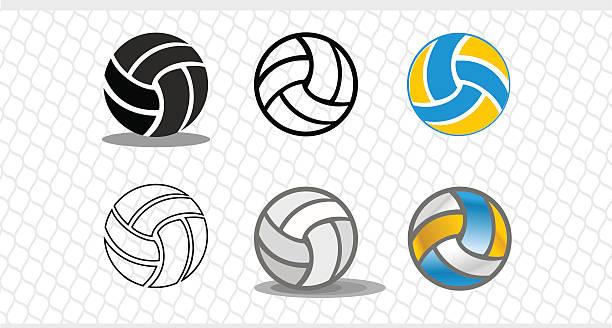 ilustrações, clipart, desenhos animados e ícones de conjunto de bolas coloridas. o logotipo é uma bola - voleibol