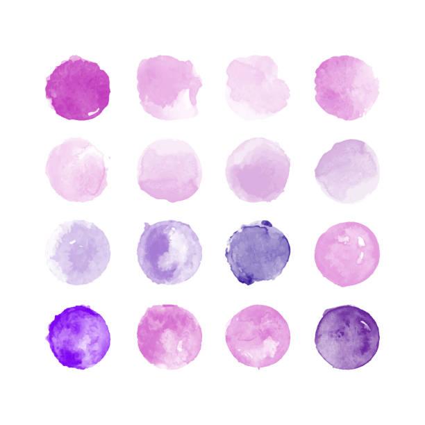 stockillustraties, clipart, cartoons en iconen met reeks van kleurrijke aquarel hand geschilderd ronde vormen, vlekken, cirkels, blob's geïsoleerd op wit. illustratie voor artistiek ontwerp - paars