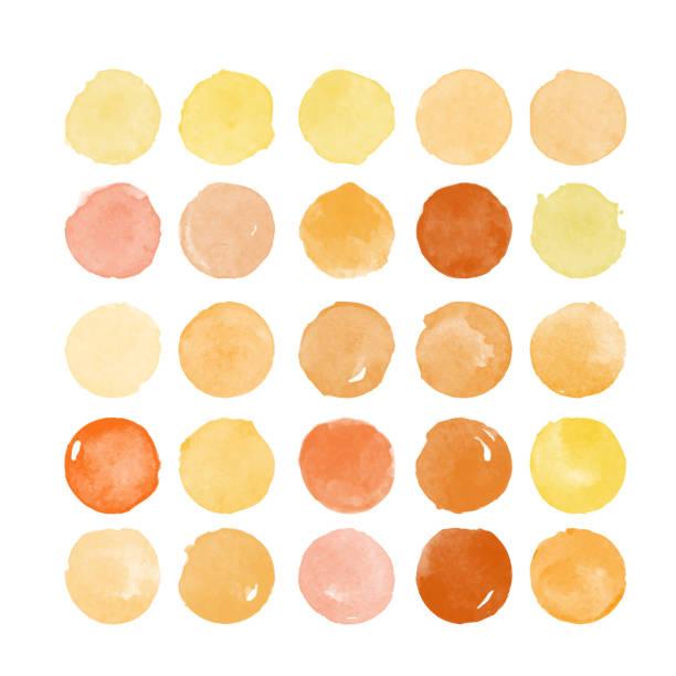 reihe von bunten aquarell hand gemalt rundformen, flecken, kreise, blobs isoliert auf weiss. illustration für künstlerische gestaltung - pastellgelb stock-grafiken, -clipart, -cartoons und -symbole