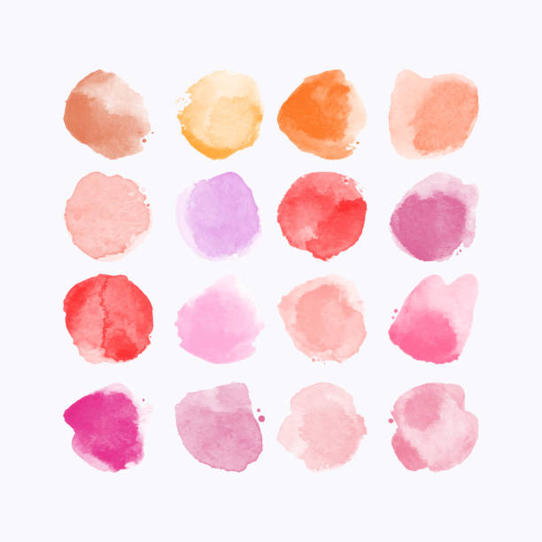 다채로운 수채화 손의 세트 그린 라운드 모양, 얼룩, 원형, blob 흰색 절연. 예술적 디자인에 대 한 그림 - 수채화 물감 stock illustrations