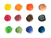 Set of colorful watercolor hand painted round shapes, stains, circles, blobs isolated on white.