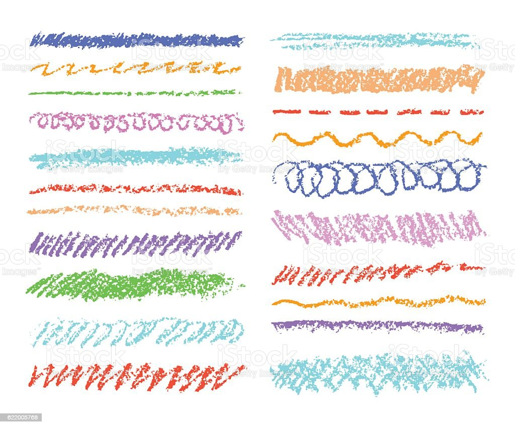 Set of colorful wax crayon strokes isolated on white. vector art illustration