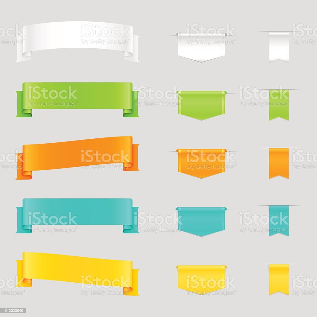 Set of colorful web ribbons and bookmarks vector art illustration