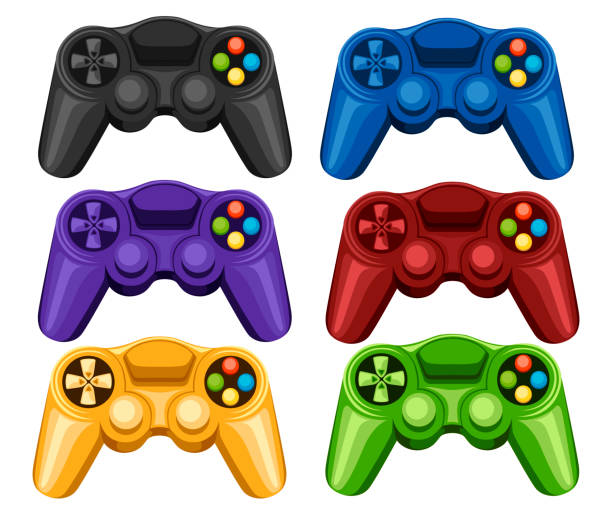 Set of colorful wireless game pads. Video game controller. Gamepad for PC or Console gaming. Flat vector illustration isolated on white background Set of colorful wireless game pads. Video game controller. Gamepad for PC or Console gaming. Flat vector illustration isolated on white background. game controller stock illustrations