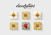Set of colorful wrapped gift boxes. Lots of presents. Flat decoration collection. Flat lay, top view