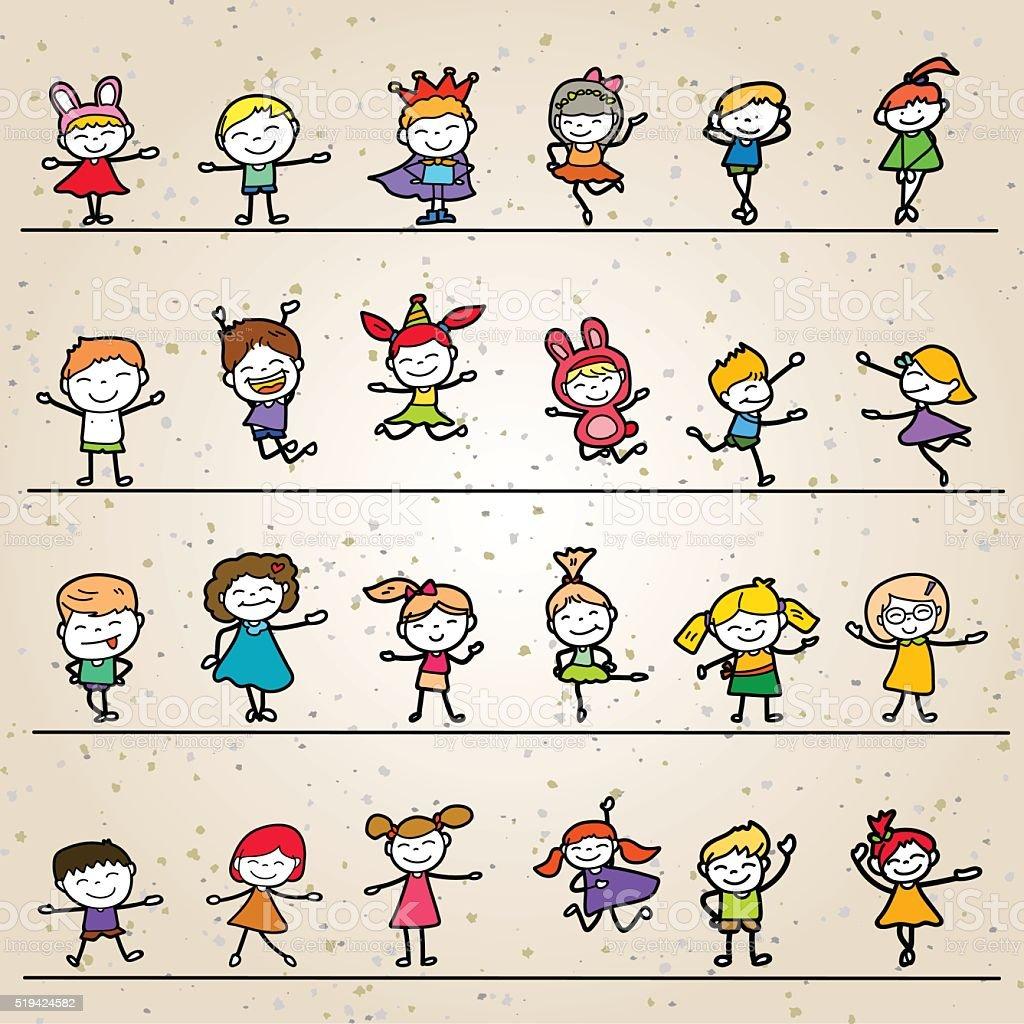 Ilustración de Conjunto De Colorear Feliz De Historieta Niños De ...
