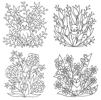 A set of coloring pages with animals