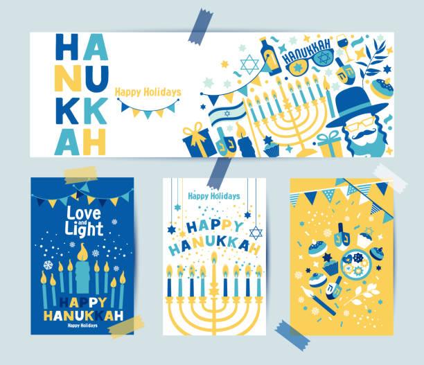 ilustraciones, imágenes clip art, dibujos animados e iconos de stock de conjunto de colores cuatro tarjetas de felicitación hanukkah y estandarte con velas, dreidel, estrella judía, aceite, menorah, rosquilla, cupcake, confeti, letras. diseño para festival de las luces. - hanukkah