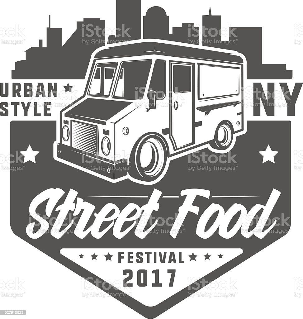 Set of colour Street food truck t shirt logo vector art illustration