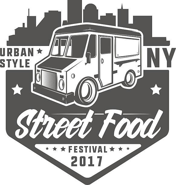 set of colour street food truck t shirt logo - imbisswagen stock-grafiken, -clipart, -cartoons und -symbole