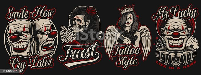 Set of  coloured illustrations in chicano tattoo style