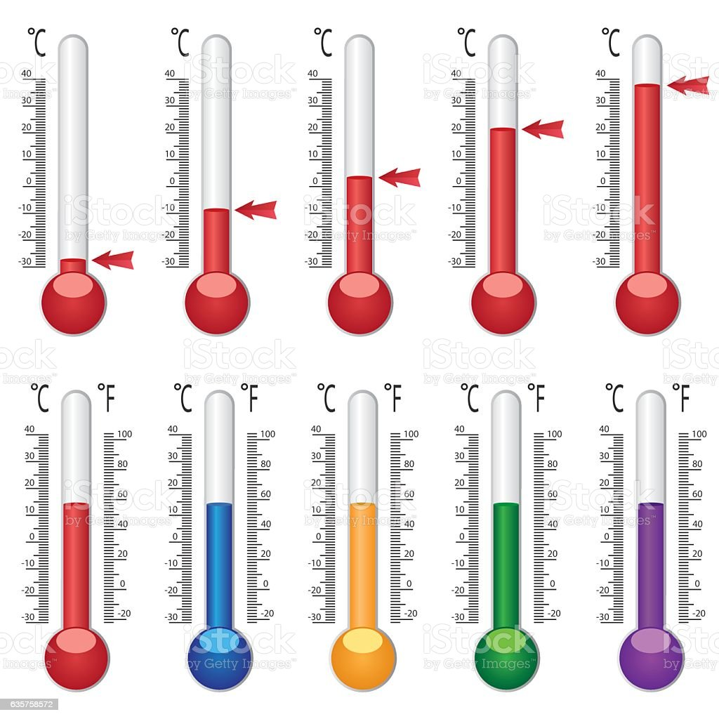 Set of coloured thermometers. vector art illustration