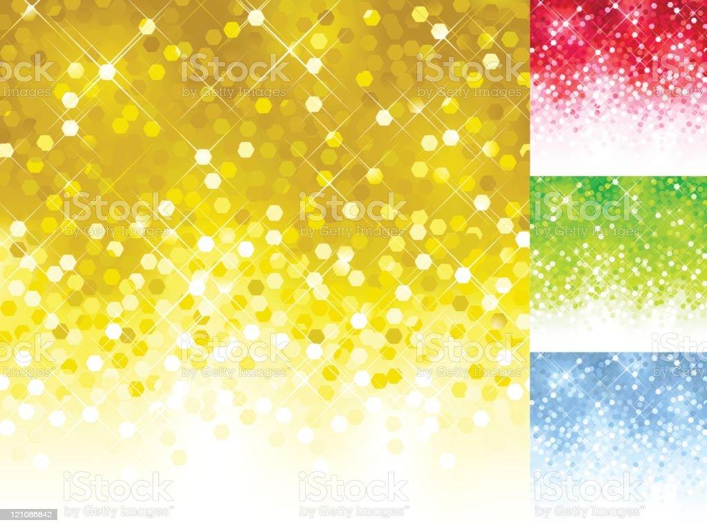 Set of colourful blurred sparkly sequin lights vector art illustration
