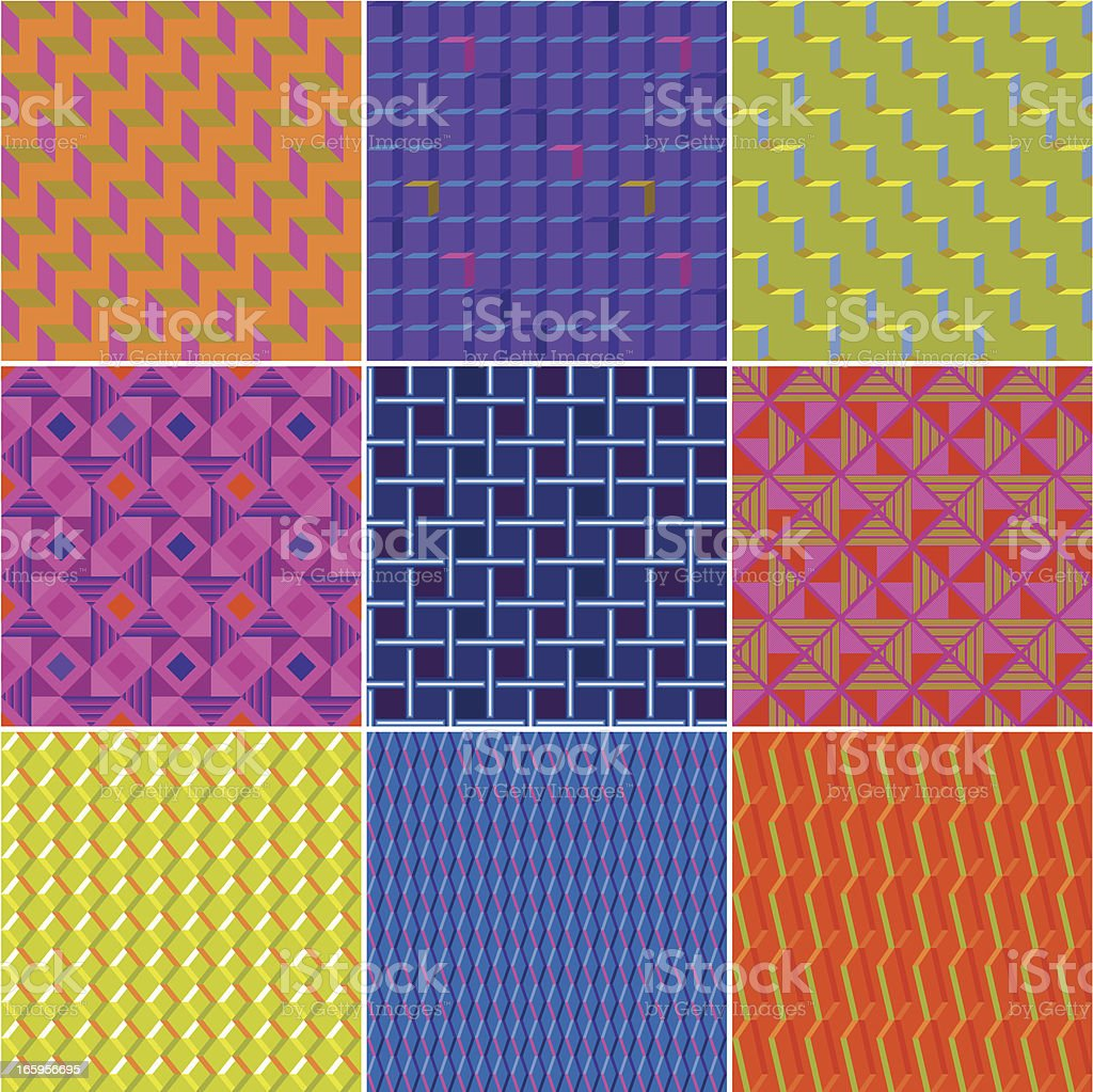 Set of Colourful Elegant Seamless Patterns royalty-free stock vector art