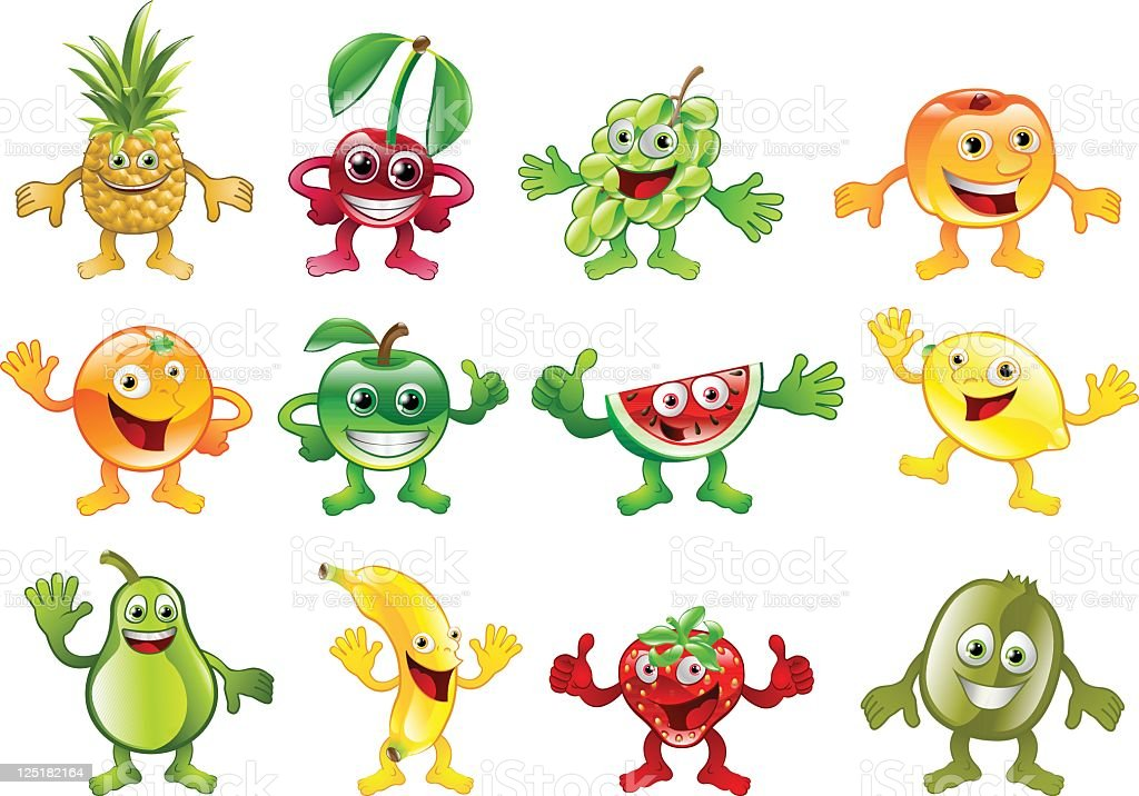 Set of colourful fruit character mascots royalty-free stock vector art
