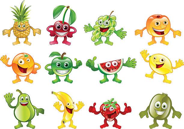 illustrazioni stock, clip art, cartoni animati e icone di tendenza di set di colorata frutta personaggio mascotte - pesche bambino