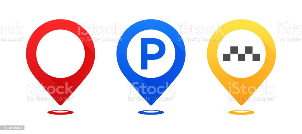 Set of colourful map pointers. Map pointer, map parking pointer, map taxi pointer. vector art illustration