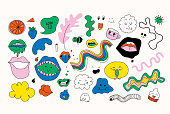 Set of colourful separate vector doodles, fully editable. Funny clip-arts is perfect for graphic design, cards, posters, prints, apparel, packaging, t-shirts design and more!