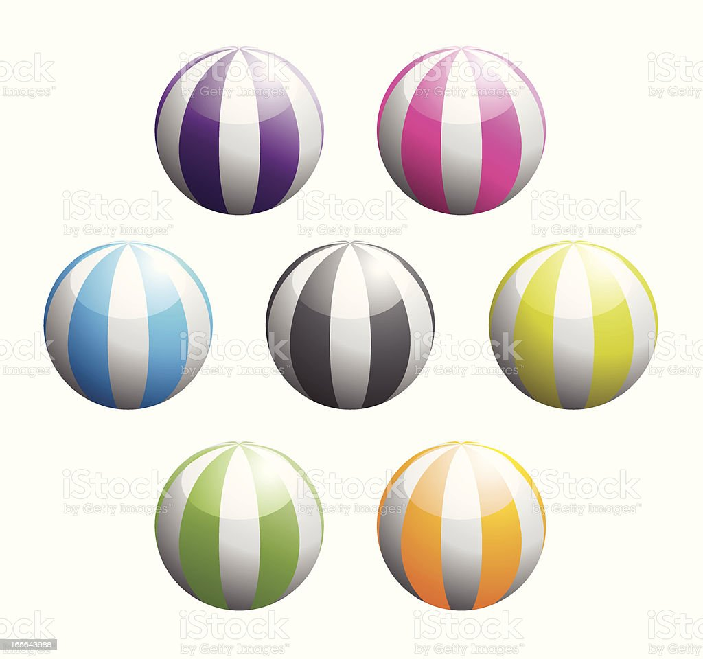 Set Of Colourful Shiny Beach Ball Icons royalty-free set of colourful shiny beach ball icons stock vector art & more images of ball