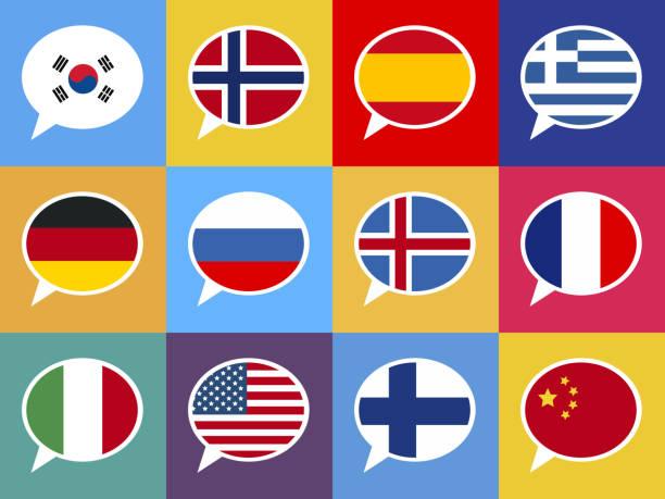세트마다 형형색색의 언어 비눗방울 - 잉글랜드 문화 stock illustrations