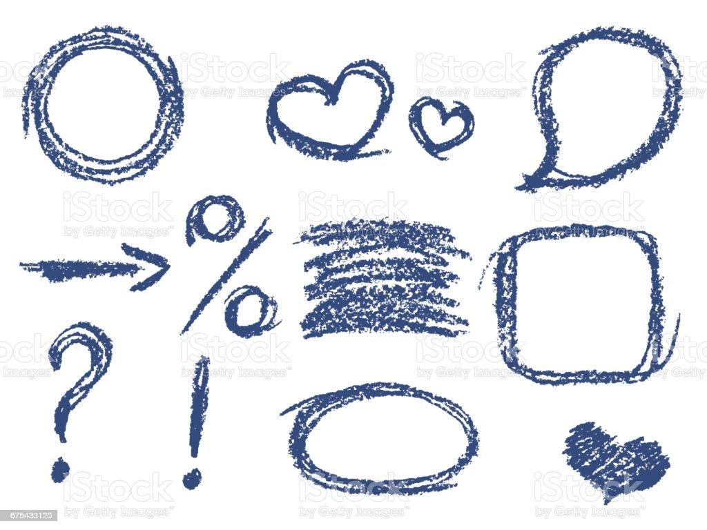 Komik Mavi Tasarım öğeleri Kümesi Pastel Tebeşir El çizilen çerçeve