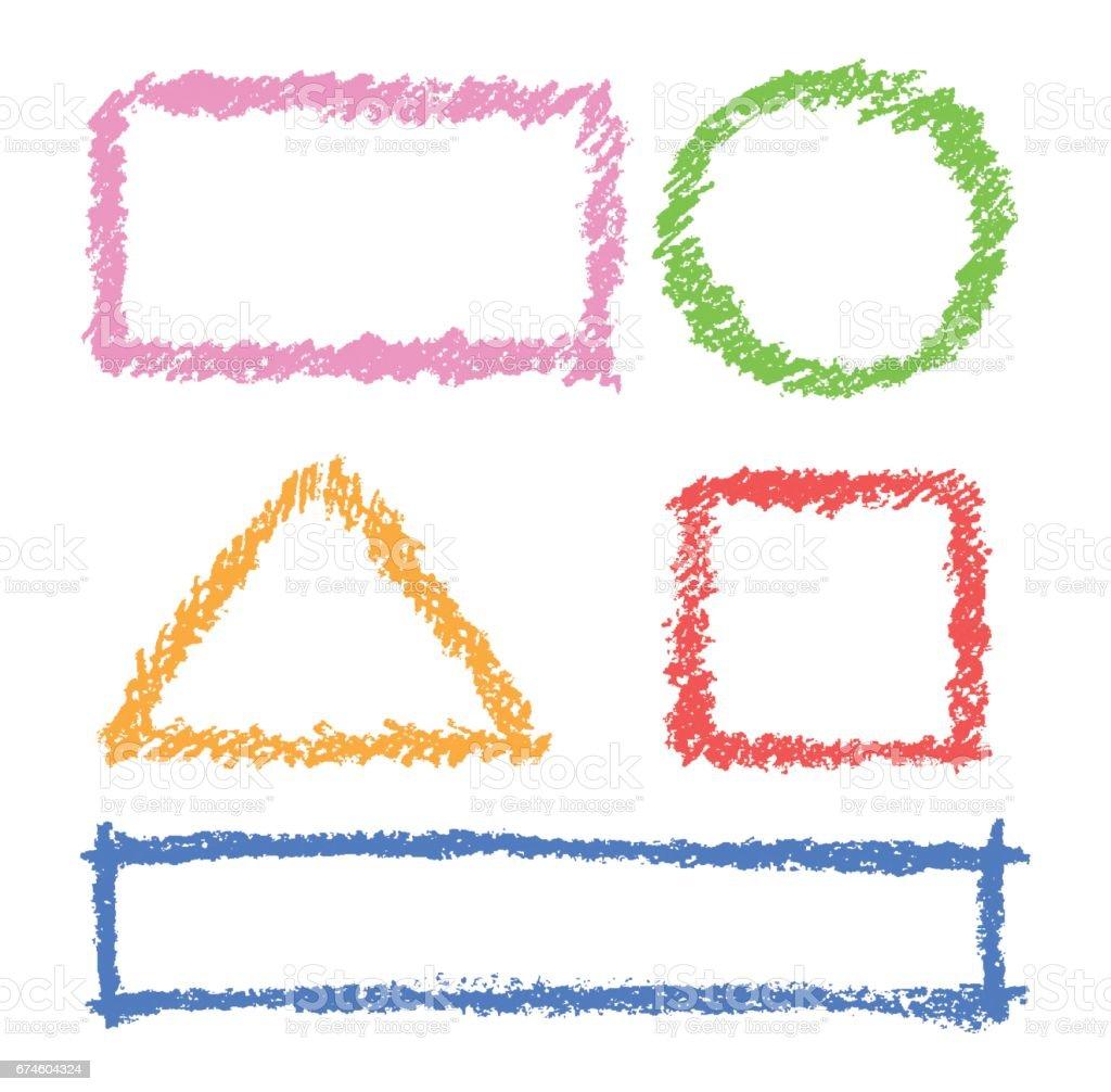 Set Of Comic Colorful Design Elements Crayon Chalk Hand Drawn Frames ...