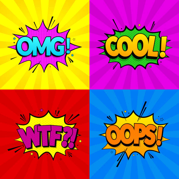 Set of comic expressions Omg, Cool, Oops, Wtf on colored backgrounds. Pop Art style. Vector illustration. EPS 10. vector art illustration