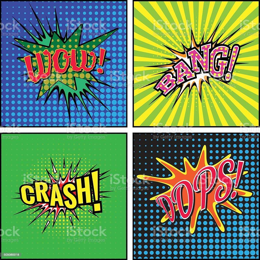Set of comic sound effects. vector art illustration