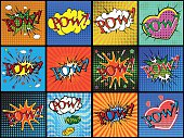 Set of comic sound effects. Vector illustration.