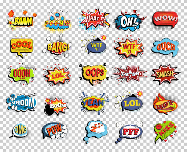 Set of comic speech bubble or sound replicas Set of comic speech bubbles or sound replicas. Onomatopoeic expressions: Lol and cool, bang and WTF, OOOH and OOPS, Vroom and yeah, boom and pow bangs stock illustrations