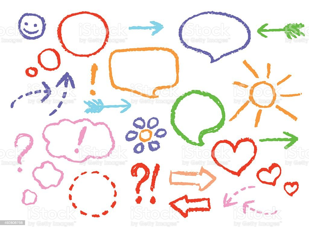 Set of comic speech bubbles and arrows vector art illustration