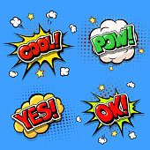 Set of Comic speech bubbles and dynamic explosion boom