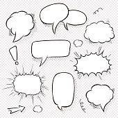 Set of comic speech bubbles and elements with halftone shadows. Cartoon style. Vector illustration in black and white