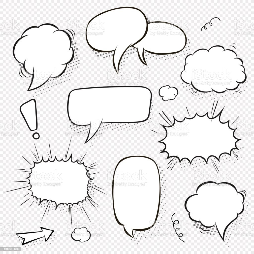 Set of comic speech bubbles and elements with halftone shadows. Cartoon style. Vector illustration in black and white vector art illustration