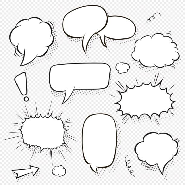 set of comic speech bubbles and elements with halftone shadows. cartoon style. vector illustration in black and white - comic book stock illustrations, clip art, cartoons, & icons