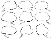 set of comic speech bubbles and thought balloons