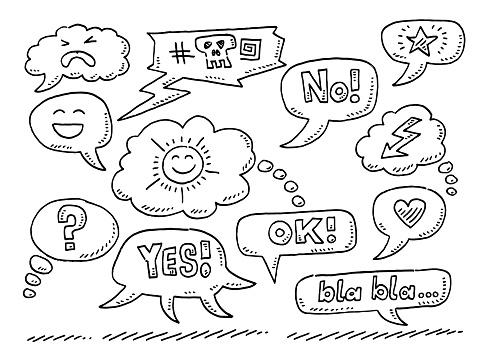 Set Of Comic Speech Bubbles Drawing