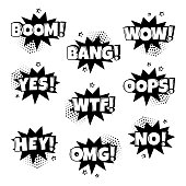 Black and white set of comic speech bubbles with different emotions and Boom, Wow, Bang, Yes, Wtf, Oops, Hey, Omg, No words. Vector illustration.